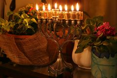 Hanukkah menorah. Jewish ritual royalty free stock photo