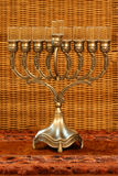 Hanukkah menorah. Golden Hanukkah menorah stock photos