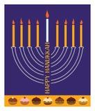 Hanukkah menorah with burning candle and donuts Stock Photos