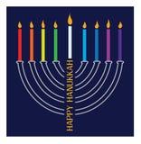 Hanukkah menorah with burning candles. Hanukkah menorah with burning candle on blue background Royalty Free Stock Image