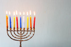 Hanukkah menorah with Burning candles Royalty Free Stock Images