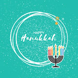 Hanukkah menorah with burning candles and gold glitter David star. Royalty Free Stock Image