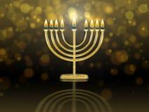 Hanukkah menorah with burning candles. Golden hanukkah menorah hanukiah with burning candles royalty free illustration