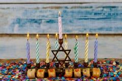 Hanukkah menorah with candles for chanukah celebrationon background. Menorah for Hanukkah celebration with candles for chanukah stock photography