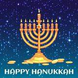 Hanukkah menorah with candles and coins.  Stock Images