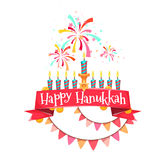 Hanukkah menorah with candles and coins.  Royalty Free Stock Photos