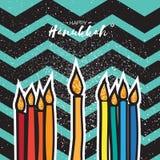 Hanukkah menorah, candles and glitter David star on zigzag background. Royalty Free Stock Photo