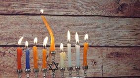 Hanukkah menorah with candles happy burning. Hanukkah menorah with candles Hanukkah candles happy burning