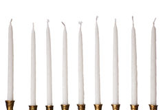 Hanukkah menorah candles isolated. On a pure white background