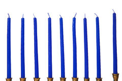 Hanukkah menorah candles isolated. On a white background