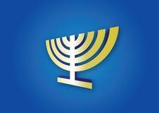 Hanukkah menorah. Chanukah menorah golden candelabrum on blue background Royalty Free Stock Image