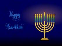 Hanukkah menorah with congratulation, card for jewish holiday Stock Image