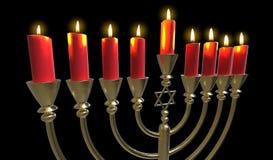 Hanukkah menorah 3D render Royalty Free Stock Photo