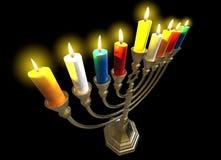 Hanukkah menorah 3D render. Menorah Hanukkah lamp which is lit during the eight days of Hanukkah. 3D render. Isolated