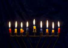 Hanukkah menorah on a dark blue background Stock Image