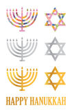 Hanukkah menorah and David's star vector illustration