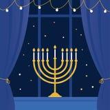 Hanukkah Menorah e janela da sala Ilustração do vetor Fotos de Stock