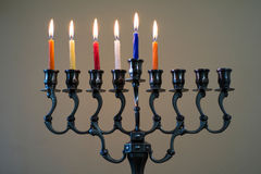 Hanukkah menorah on the fifth day of Hanukkah Royalty Free Stock Photo