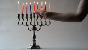 Hanukkah menorah. During the Jewish holiday of Hanukkah stock video