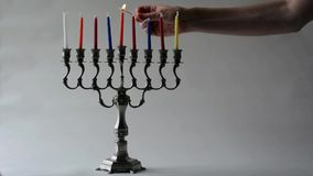 Hanukkah menorah. During the Jewish holiday of Hanukkah stock video footage