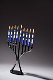 Hanukkah Menorah With Lit Candles Stock Photos