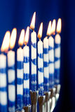 Hanukkah: Menorah with Lit Candles Royalty Free Stock Images