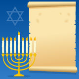 Hanukkah Menorah and Old Parchment. Happy Hanukkah invitation card with a cartoon golden Hanukkah menorah and an old parchment scroll. Eps file available stock illustration