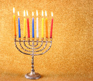 Hanukkah menorah over glitter background Stock Image