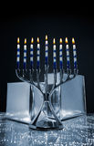 Hanukkah Menorah With Silver Boxes Royalty Free Stock Image