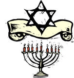 Hanukkah Menorah und Davidsstern