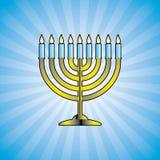 Hanukkah menorah - vector. Hanukkah menorah with lit candles - vector vector illustration