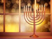 Hanukkah menorah on window background Stock Photo
