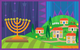 Hanukkah Night. Colorful illustration of a menorah with a village in the background. Eps10 Stock Photo