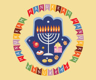 Hanukkah  objects with flags. Abstract hand with objects of jewish holiday hanukkah Royalty Free Stock Photography