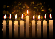 Hanukkah realistic vector candles over bokeh background. Created with gradient mesh.  royalty free illustration