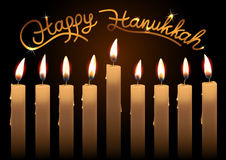 Hanukkah realistic vector candles over dark background. Happy Hanukkah lettering. Created with gradient mesh Royalty Free Stock Image