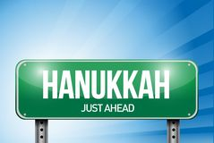 Hanukkah road sign illustration design Stock Photography