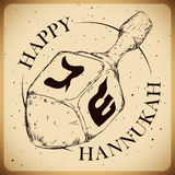 Hanukkah's Dreidel in Hand Drawn Retro Style, Vector Illustration. Dreidel in hand drawn style with gimel and shin faces in retro poster Royalty Free Stock Image