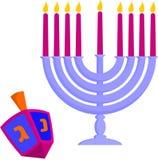 Hanukkah's elements. Chandelier and dreidel Stock Images