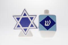 Hanukkah Salt and Pepper. A Hanukkah salt and pepper shaker against a white background Royalty Free Stock Photos