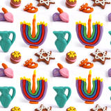 Hanukkah seamless handmade plasticine pattern. Modeling clay colorful texture. Isolated on white background Stock Photo