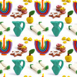 Hanukkah seamless handmade plasticine pattern. Modeling clay colorful texture. Isolated on white background Stock Image