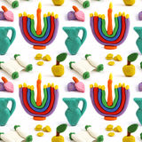 Hanukkah seamless handmade plasticine pattern. Modeling clay colorful texture. Isolated on white background Royalty Free Stock Photos