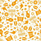 Hanukkah seamless pattern. Seamless pattern background with Hanukkah traditional elements in flat style. Vector illustration