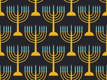 Hanukkah seamless pattern candlestick with nine candles. Black background. Vector Stock Image