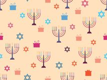 Hanukkah seamless pattern with candlesticks, stars and gifts. Celebratory background. Vector Stock Images