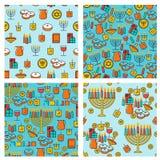 Hanukkah seamless pattern collection. Hanukkah simbols. Hanukkah candles, menorah, sufganiot and dreidel. Royalty Free Stock Photos