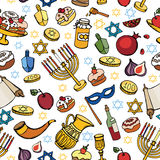 Hanukkah  seamless pattern.Doodle Jewish Holiday Stock Images