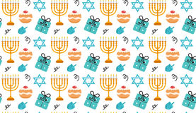 Hanukkah seamless pattern. Hanukkah background with Menorah, Sufganiyot, Dreidel. Happy Hanukkah Festival of Lights. Feast of Dedication seamless texture Stock Photography