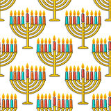 Hanukkah seamless pattern. Hanukkah simbols. Hanukkah candles, menorah, sufganiot and dreidel. Royalty Free Stock Photography